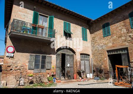 The historic old town on a sunny summer day, Buonconvento Tuscany Italy Europe EU - Stock Photo