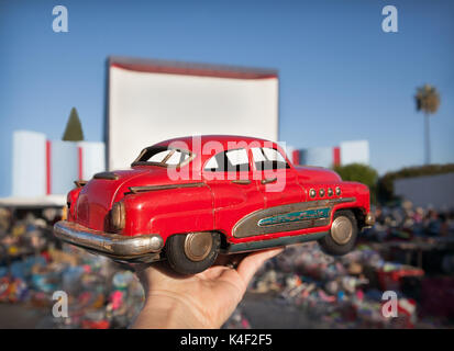 This great metal vintage car was found while treasure hunting at the Roadium (old drive in theater) outdoor air - Stock Photo