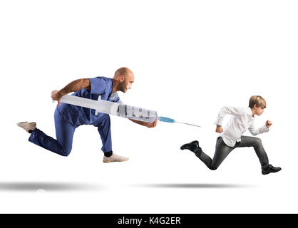 Fear of the vaccine concept with running child - Stock Photo