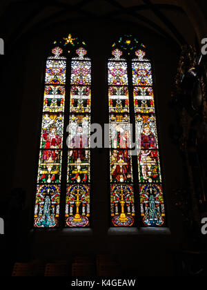 Stained Glass Windows in St. Nicolas cathedral, created by the Polish painter Jozef Mehoffer between 1896 and 1936, - Stock Photo