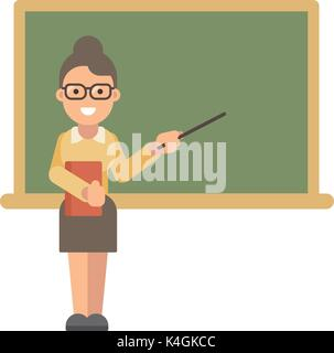 Female teacher with a book and a pointer near a blackboard. Teacher's Day. Back to school - Stock Photo