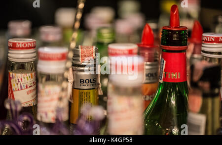 BANGKOK, THAILAND - October 23, 2017 - A variety of alcoholic beverages, Bernd, in the bar for cocktails. - Stock Photo