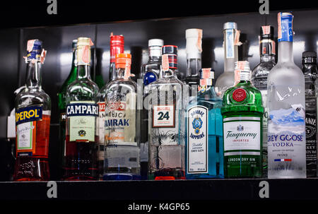 BANGKOK, THAILAND - October 23, 2017 - A variety of alcoholic beverages, Bernd, are placed on shelves in the bar - Stock Photo