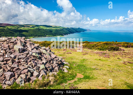 The view over Porlock Bay from Bossington Hill in the Exmoor National Park,Somerset. - Stock Photo
