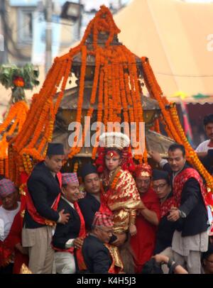 Kathmandu, Nepal. 05th Sep, 2017. People participate. the procession during Indrajatra festival at Hanuman Dhoka - Stock Photo