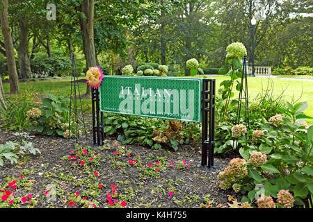 Cleveland Ohio Cultural Gardens Italian public park sign Stock Photo ...