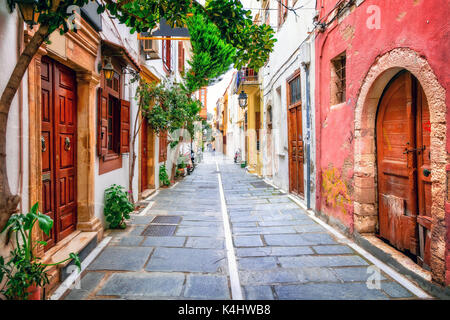 Charming colorful old streets of Old town in Rethymno in Crete island.Greece - Stock Photo