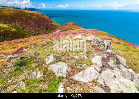 The view over the Bristol Channel from the Southwest Coast Path in the Exmoor National Park, Somerset. - Stock Photo