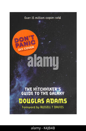 The book The Hitchhikers Guide to the Galaxy by Douglas Adams. - Stock Photo
