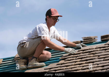 Roofer Constructing New Roof Builder Roofing Surface