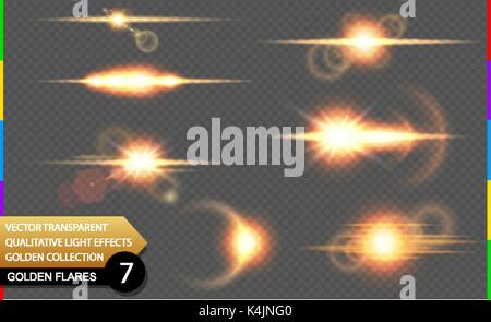 Isolated golden lens flare line. Glow transparent vector light effect set, explosion, sun flash, and star burst. - Stock Photo
