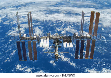 ISS or International Space Station. The spacecraft is a habitable artificial satellite, in low Earth orbit. Elements - Stock Photo