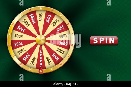 Gold realistic 3d fortune wheel, lucky game spin, luxury roulette on green background. Casino background for money, - Stock Photo
