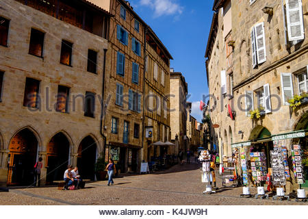 Champollion Square, Figeac, Lot, Quercy, France, Europe - Stock Photo