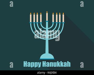 Happy hanukkah. Hanukkah candles flat design with long shadow. Vector illustration. - Stock Photo