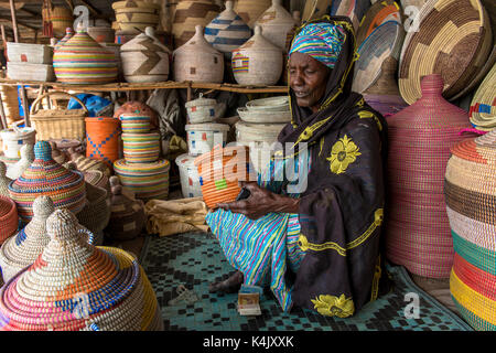 Handmade basket shop, Thies, Senegal, West Africa, Africa - Stock Photo