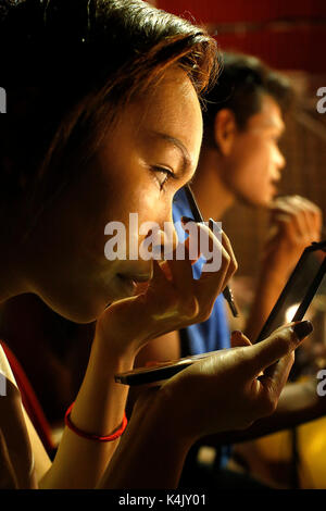 Performers of Phare Ponleu Selpak circus preparing for a show in Siem Reap, Cambodia, Indochina, Southeast Asia, - Stock Photo