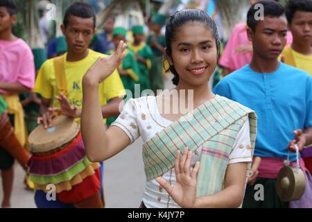 Assumption Catholic procession in Battambang, Cambodia, Indochina, Southeast Asia, Asia - Stock Photo