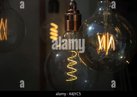 A selection of vintage style filament lightbulbs glowing in a shop window. Credit: Terry Applin - Stock Photo
