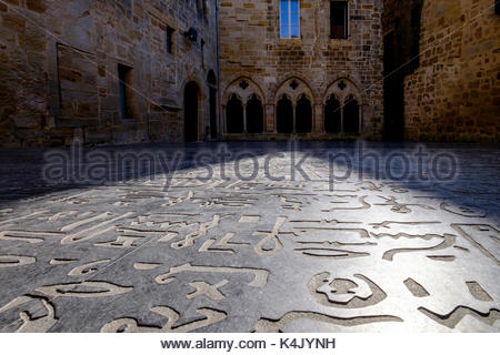 Square des Ecritures, reproduction of the Rosetta stone deciphered by Champollion, Figeac, Lot, Quercy, France, - Stock Photo