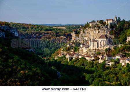 Stop on Saint-Jacques-de-Compostelle pilgrimage, (St. James' Way), Rocamadour, UNESCO World Heritage Site, Lot, - Stock Photo