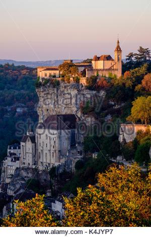 Stop on Saint-Jacques-de-Compostelle pilgrimage (St. James' Way), Rocamadour, UNESCO World Heritage Site, Lot, Quercy, - Stock Photo