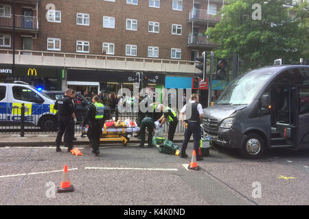 London, UK. 06th Sep, 2017. Accident on Swiss Cottage,Finchley Road near the pedestrian crossing opposite the Argos - Stock Photo