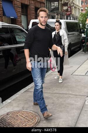 New York, NY, USA. 6th Sep, 2017. Taylor Kitsch, out promoting his new film AMERICAN ASSASSIN out and about for Celebrity Candids - WED, New York, NY September 6, 2017. Credit: Derek Storm/Everett Collection/Alamy Live News