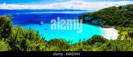amazing turquoise white sandy beaches of Ionian islands - Antipaxos. Greece - Stock Photo