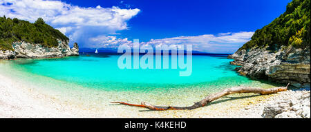 amazing turquoise white sandy beaches of Ionian islands - Antipaxos. Greece - Stock Photo