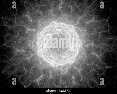Glowing plasma torus in space, high voltage, black and white texture, computer generated abstract background, 3D rendering