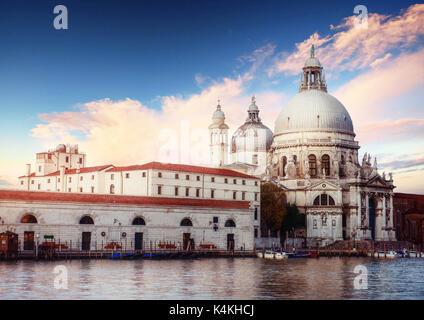 Grand Canal and Basilica Santa Maria della Salute, Venice - Stock Photo