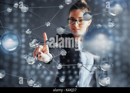 Modern technologies, Internet and network concept - man, presses the button on the virtual screen - Stock Photo