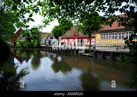 Travel back in time at Den Gamle By (The Old Town), an open-air folk museum in Aarhus, Denmark. - Stock Photo