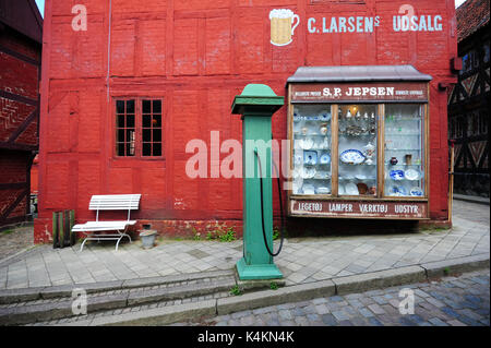 Travel back in time at Den Gamle By (The Old Town), an open-air folk museum in Aarhus, Denmark. With 75 historic - Stock Photo