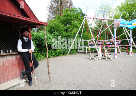 Travel back in time at Den Gamle By (The Old Town), an open-air folk museum known in Aarhus, Denmark. - Stock Photo