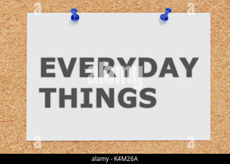 3D illustration of 'EVERYDAY THINGS' on cork board - Stock Photo