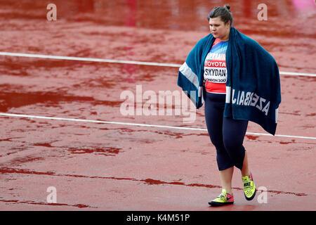 HannaSKYDAN (Azerbaijan) competing in the Women's Hammer Qualification B at the 2017, IAAF World Championships, - Stock Photo