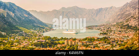 Panorama of Kotor, Montenegro. Kotor Bay is one of the most beautiful places on the Adriatic Sea, a preserved Venetian - Stock Photo