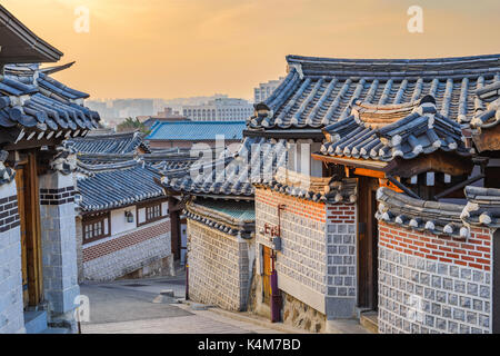 Seoul sunrise city skyline at Bukchon Hanok Village, Seoul, South Korea - Stock Photo