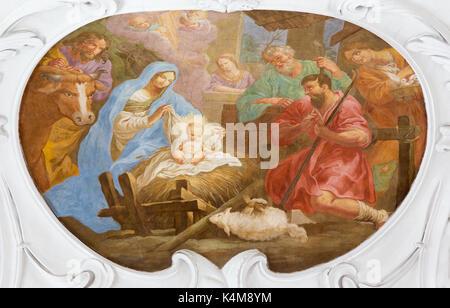 VIENNA, AUSTRIA - JULY 30, 2014: The fresco of Nativity in church Pfarkirche Maria Hietzing by Antoni Galliardi - Stock Photo