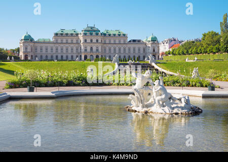 VIENNA, AUSTRIA - JULY 30, 2014: The fountain of Belvedere palace in morning. - Stock Photo