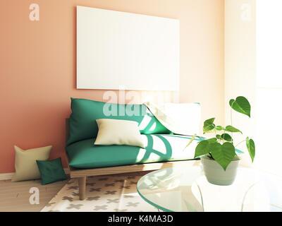 Modern hipster interior 3d - Stock Photo