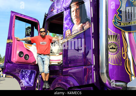 ALAHARMA, FINLAND - AUGUST 11, 2017: Finnish custom truck builder and haulier Mika Auvinen with his new super truck - Stock Photo