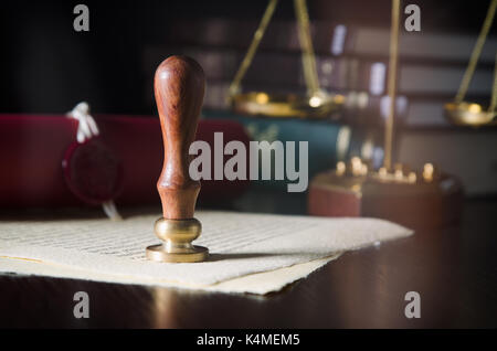 Law, legal, notary public. Wax seal on handmade paper. Stamp court background concept - Stock Photo