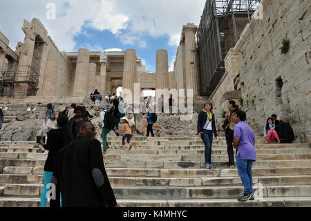ATHENS, GREECE - MAY 6, 2014: People at the Propylea entrance to the Acropolis of Athens. - Stock Photo