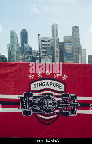 03.09.2017, Singapore, Republic of Singapore, Asia - A view of the skyline of the Central Business District in Marina - Stock Photo