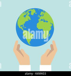 Flat design colored vector illustration of globe in hands. Isolated on bright blue background - Stock Photo