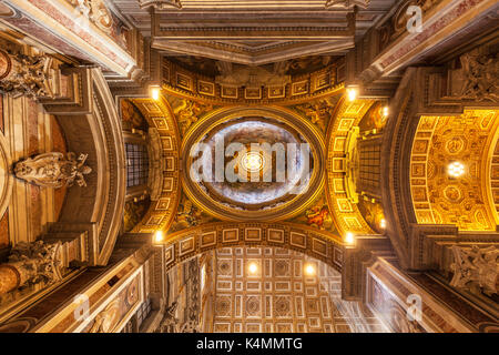 Interior of St. Peters Basilica roof dome Vatican City, UNESCO World Heritage Site, Rome, Lazio, Italy, Europe - Stock Photo