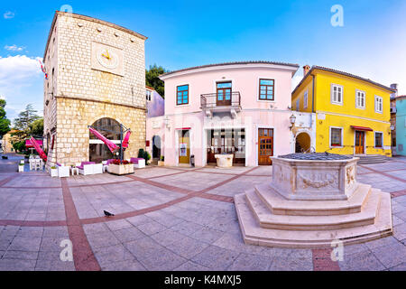 Town of Krk historic main square panoramic view, Kvarner region of Croatia - Stock Photo